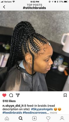 Braided Hairstyle - Welcome my homepage Feed In Braids Ponytail, Feed In Braids Hairstyles, Braids Hairstyles Pictures, Braided Ponytail Hairstyles, Braided Hairstyles For Black Women, Braids For Black Hair, Weave Hairstyles, Girl Hairstyles, Cornrow Ponytail