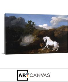 Ready-to-hang Horse Frightened by a Lion 1770 Canvas Art Print for Sale canvas art print for sale. Art Prints For Sale, Canvas Art Prints, Lion, Horses, Painting, Leo, Painting Art, Lions, Horse