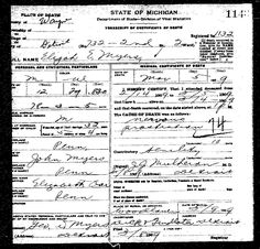 Example of a typical Michigan Death Certificate   Great news for genealogists looking for ancestors in Michigan! FamilySearch now has an i...
