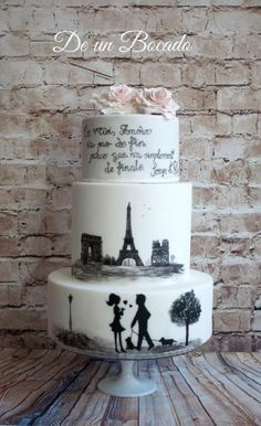 Hand painted Paris cake