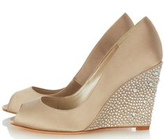 gold peep toe wedge