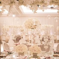| aboutdetailsdetails.com | Hanging glass orbs, tea light candles, st regis monarch beach ballroom, oc wedding planner, destination wedding, oc wedding, luxury wedding, wedding flowers, wedding design, wedding inspo