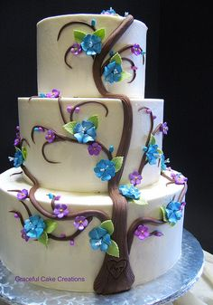 Tree of Love Wedding Cake - Love Love Love this cake! The colors are perfect!