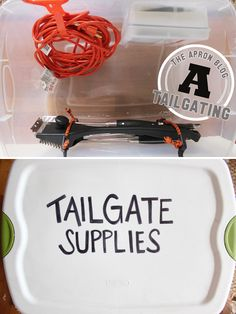 Customize a plastic storage container so that it is more organized and neat for tailgating! #organization #storage #tailgating