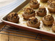 Stuffed Mushrooms with Sausage Recipe | Tyler Florence | Food Network Florence Food, Tyler Florence, Sausage Recipes, Cooking Recipes, What's Cooking, Super Bowl Finger Foods, Chicke Recipes, Fresh Bread Crumbs, Healthy Superbowl Snacks