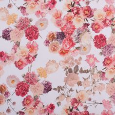 (Would be so cute as a crop top/halter top) Pink Posies Digitally Printed Mercerized Stretch Cotton Woven