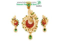 22 K Gold  'PEACOCK'  Pendant & Earring Set With Cz & Colour Stones