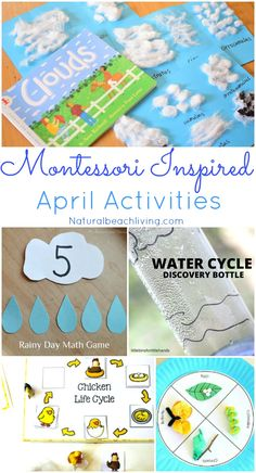 Montessori Themes Preschool Activities for April, April Montessori ideas, Life cycles, Weather Theme Activities, Tray ideas, Earth Day, Spring Activities