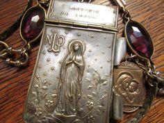 Antique religious Victorian necklace repousse by madonnaenchanted, $179.00