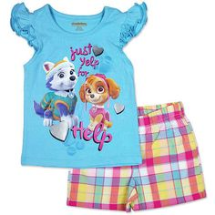 "Toddler Girls Paw Patrol 2pc Set ""Just Yelp for Help"" Shorts & Shirt BNWT Sz 5T  #Nickelodeon #Everyday"