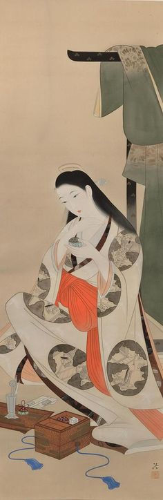KOBAYAKAWA Kiyoshi Japan 小早川清 Title: Subtle Fragrance on a Quiet Night (Sei ya bun kô 静夜聞香) ink and color on silk. Japanese Modern, Japanese Prints, Japanese Culture, Japanese Illustration, Illustration Art, Vietnam, Japan Painting, Art Asiatique, Art Japonais
