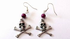 Skull & crossbone earrings with purple beads - The Supermums Craft Fair