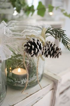 DIY holiday decor. Need some epsom salt, greenery, pinecones, mason jars... no lace, though!
