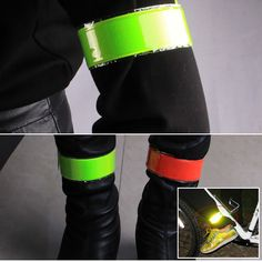 1Pcs Running Fishing Motorcycle Cycling Reflective Strip Warning Bike Safety Bicycle Bind Pants Leg Strap Reflective Tape