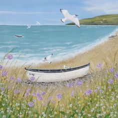 Sunshine and Seagulls | Suffolk Original Paintings by Lucy Grossmith | Lucy Grossmith paints all the things that she loves about Suffolk onto block canvas or textured paper with acrylic paints - original painting for sale