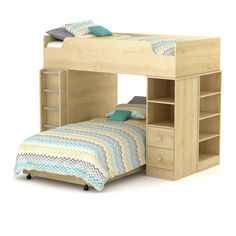 Logik Mates Bed, Twin (39''), Natural Maple, 39''