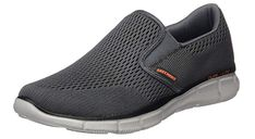 These Skechers Charcoal/Orange Equalizer Double Play Slip-On Loafer Shoes feature a pull-on style, synthetic sole, and memory foam insole. Loafer Shoes, Loafers Men, Amazon Clothes, Double Play, Most Comfortable Shoes, Everyday Shoes, Skechers, Slip On Shoes, Cole Haan