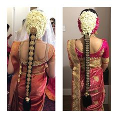 South Indian Bride Hairstyle, Indian Hairstyles, Bride Hairstyles, Kerala Bride, Indian Flowers, Bridal Hairdo, Fruit Carvings, Saree Wedding, Gorgeous Hair