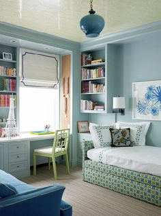 Upholstered Daybed - Sarah Richardson i also like the floating bookcase over the built in cupboard.