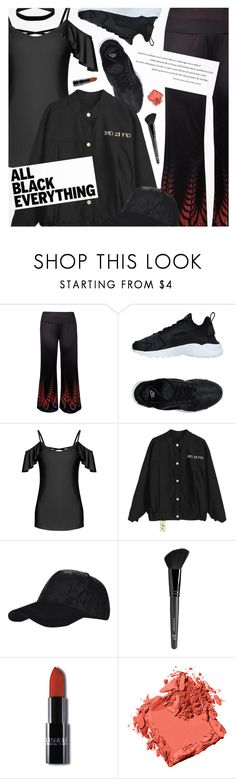 """""""Monochrome: All Black Everything"""" by pokadoll ❤ liked on Polyvore featuring NIKE, Old Navy, Bobbi Brown Cosmetics and Miss Selfridge"""