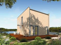 Compact, cheap but completely cool modular design is well-represented in the pre-fabricated 'kubu' house by Germany's THULE Blockhaus. Container Home Designs, Beautiful House Plans, Beautiful Homes, Small Prefab Homes, Ideas Cabaña, Reading Room Decor, Modern Wooden House, Bamboo House, Prefabricated Houses