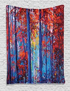 Ambesonne Lakehouse Decor Collection Oil Painting View Autumn Forest Modern Impressionism Artwork Print Bedroom Living Room Dorm Wall Hanging Tapestry Paprika Navy Blue Yellow >>> Want to know more, click on the image.