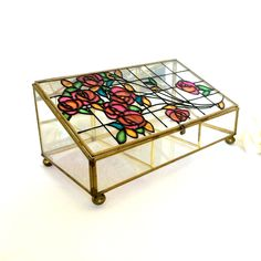 Stained Glass Display case Jewelry box jewelry box with glass bottom and brass and Glass frame by EllasAtticVintage on Etsy