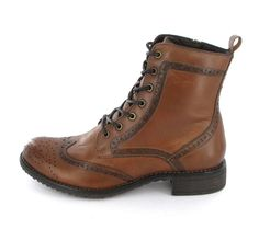 Tamaris Braune Stiefelette zum Schnüren Dandy Look, Dr. Martens, Hiking Boots, Combat Boots, Shoes, Style, Fashion, La Mode, Brown Ankle Boots