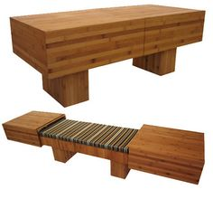 Convertible coffee table turned bench seat by Akemi Tanaka. Made green from bamboo and sustainable fabrics.