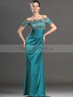 Off the Shoulder Lace Bodice Long Elastic Satin Evening Dress