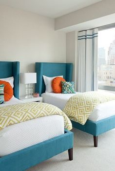 Teal, peacock blue, palette  imagine blue metal bed frame with white bedding and pops of orange & yellow?