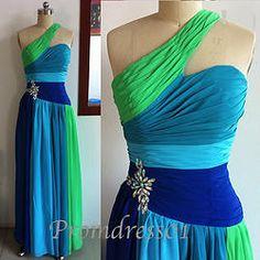 One-shoulder hand-made multi-color prom dress