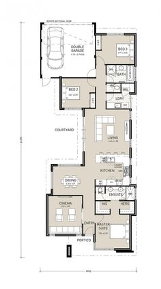 Incredible House Plans With Detached Garage Detached In Law House Plans House Plans With Detached Garage - House and Floor Plans Narrow Lot House Plans, Garage House Plans, Cottage Floor Plans, House Floor Plans, Building Plans, Building A House, Master Suite, Compact House, Long House