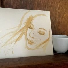 Based on a photo of @lucahollestelle - I hope she doesn't mind. #coffee #coffeeart #dailychallenge #artchallenge #femaleportrait