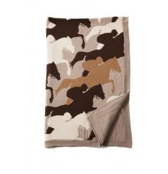 "RANI ARABELLA Knitted cashmere-cotton blend Cantering #Equestrian #Horse throw in Sand. 52"" x 75"". Made in Italy."