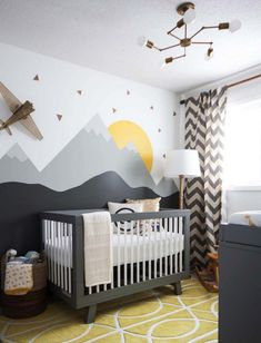 Baby Nursery: Easy and Cozy Baby Room Ideas for Girl and Boys an excellent example of a gender neutral nursery, in grays, yellows and whites. Modern, comfortable and still a very stylish nursery! Baby Bedroom, Baby Boy Rooms, Baby Boy Nurseries, Kids Bedroom, Kids Rooms, Baby Cribs, Room Baby, Bedroom Yellow, Gray Yellow Nursery