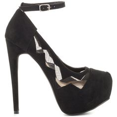 JustFab Women's Kallista - Black ($53) ❤ liked on Polyvore featuring shoes, pumps, black, black pumps, platform pumps, ankle strap high heel pumps, high heeled footwear and cut out pumps