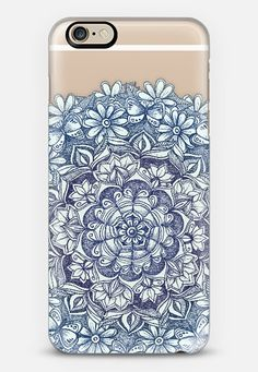 Indigo Medallion with Butterflies & Daisy Chains - transparent iPhone 6 case by Micklyn Le Feuvre | Casetify - Use code 6SP8GR to get $10 off your first order. #casetify #freeshipping