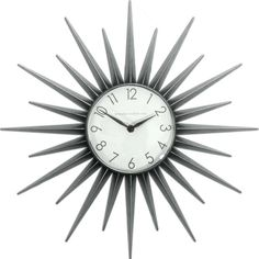 Here's a wonderful modern reproduction of the classic mid century modern Starburst clock. Large 22 inch diameter is made of a durable high grade resin and is a bright silver gray in color.