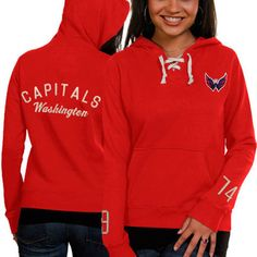 Women s Washington Capitals Old Time Hockey Red Queensboro Lace-Up Pullover  Slim Fit Hooded Sweatshirt 36c1265ec