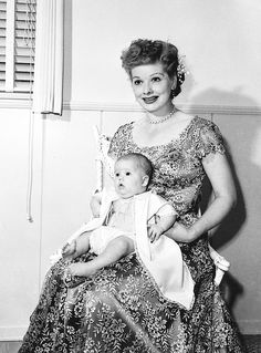 misstanwyck:  Lucille Ball with daughter Lucie Arnaz, 1951