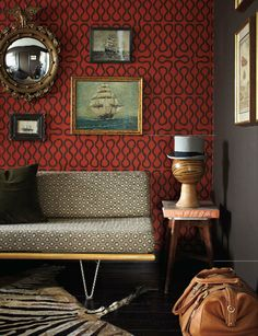 Eclectic, modern living room with a mix of patterns; wallpaper, gallery walls, and zebra rug, via Traditional Home ® / Photo: Dominique Vorillon / Design: Tamara Kaye-Honey. Moody Wallpaper, Office Wallpaper, Wallpaper Gallery, Mid Century Ranch, Masculine Interior, Cole And Son, Traditional House, Interiores Design, Pattern Wallpaper
