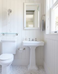 Wainscoting and carrera hex tiles in the bathroom!