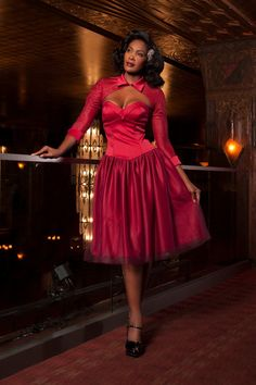 c237dbee79e Laura Byrnes Bernadette Vintage Cocktail Dress in Red