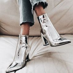 Trendy metallic boots. #womensfashionstyleadvice