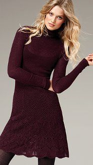 Turtleneck Flared Sweaterdress -rich wines and burgundies for midwinter festivities. Fall Dresses, Nice Dresses, Beach Dresses, Summer Dresses, Wedding Dresses, Only Fashion, Womens Fashion, Cozy Winter Outfits, Street Style Edgy