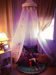 ikea bed canopy made into a little den, i have a similar canopy from ikea and that sparked my idea to make one Cozy Bedroom, Girls Bedroom, Bedroom Decor, Loft Playroom, Ikea Kids, Little Girl Rooms, Kid Spaces, New Room, Dog Bed