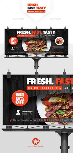 Buy Restaurant Billboard Templates by grafilker on GraphicRiver. Restaurant Billboard Templates Fully layered INDD Fully layered PSD 300 Dpi, CMYK IDML format open Indesign or la. Bilboard Design, Food Design, Media Design, Restaurant Advertising, Advertising Logo, Food Poster Design, Graphic Design Posters, Signage Design, Banner Design