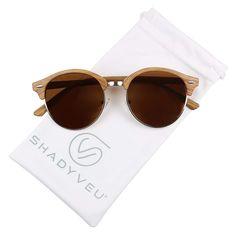 91ba9b236 ShadyVEU - Classic Retro Round POLARIZED Semi Half Rim Circle 80's  Sunglasses