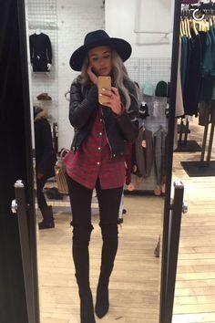 Black jeans + black boots + red plaid shirt + black letaher jacket + black hat